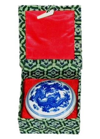 Small Chinese Red Seal Ink and Porcelain Container Kit